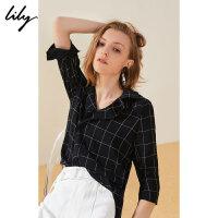 Lily20夏新款时尚格子复古西装领宽松显瘦衬衫女119210C4188