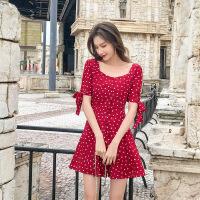 【新品特惠】女装2019款夏小清新碎花雪纺连衣裙女夏季学生小个子流行夏天裙子 红色