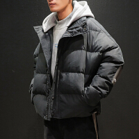 冬季潮牌连帽棉衣男士加肥加大码韩版棉服潮流学生冬天棉袄外套男