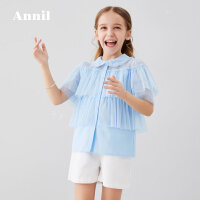 安奈儿童装女童衬衫透气2020夏季新款拼接网纱仙气十足中大童衬衫1