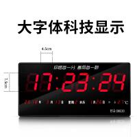 电子时间显示器 LED万年历电子钟大屏客厅挂钟夜光静音钟表日历钟 16英寸