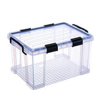特大�透明塑料收�{箱加厚�ξ锵渫婢哒�理箱衣服密封防潮箱食品� 透明 密封整理箱 8088 大�62*44*34 55L