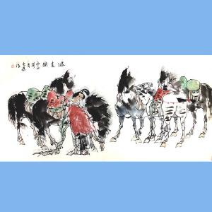中国文联副主席,中国美术家协会主席,全国政协委员刘大为(游春图)