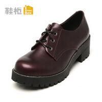 Daphne/达芙妮旗下鞋柜 休闲圆头高跟单鞋英伦方跟粗跟系带女鞋