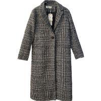 女装格子毛呢外套冬季长款茧型千鸟格呢子大衣