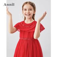 安奈儿童装女童礼裙2020夏装新款复古优雅蕾丝连衣裙洋气公主裙子2
