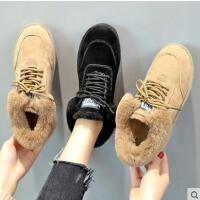 百搭潮款女鞋毛毛一体系带防滑雪地靴短靴子新款棉鞋女加绒面包鞋