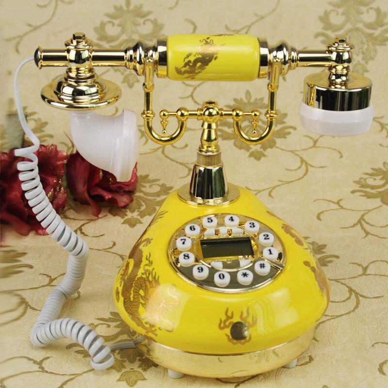 田园风复古创意电话仿古陶瓷婚庆用品老式家用古董固有线电话座机