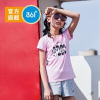 【下单立减】361度童装 女童T恤字母短袖 2019夏季新品休闲运动上衣N61923201
