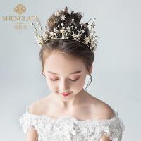儿童皇冠头饰公主水晶大发箍金色女孩生日礼服发饰