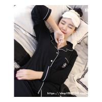 韩版睡衣女秋冬长袖宽松甜美可爱学生套装男加大码情侣家居服 1718#黑色
