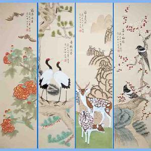北京市美协会员,北京著名工笔画家凌雪(福禄寿喜)