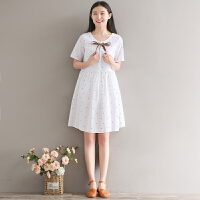 12-13-14-15-16-17-18岁大童少女孩短袖夏装初中学生棉麻连衣裙子 白色 M