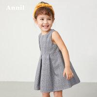 【2件5折:134.5】安奈儿童装女小童连衣裙夏装简约2020新款宝宝洋气无袖格子公主裙