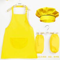 男孩罩衣厨房儿童厨师帽烘焙美术课幼儿园长款小朋友围裙三件套