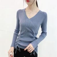 毛衣女秋冬修身针织衫女V领系带长袖时尚内搭显瘦打底衫女