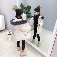 儿童棉衣2018新款加厚棉服女孩大毛领冬季中长款外套