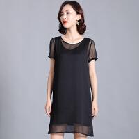 时尚品牌很仙的法国小众连衣裙胖mm大码女装200斤遮肚子减龄短袖直筒裙女SN0212 黑色