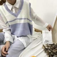 秋冬女装韩版学院风时尚宽松百搭针织衫无袖背心短款马甲上衣外套 均码