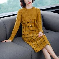 实拍秋冬新款针织圆领格纹拼接长袖针织连衣裙女套头毛衣打底衫