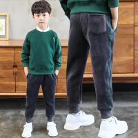 儿童裤子加绒加厚春秋冬季2018新款男孩休闲金丝绒长裤
