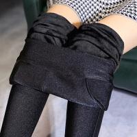 冬季女士加绒加厚双口袋打底裤外穿高腰光泽裤修身显瘦弹力小脚裤