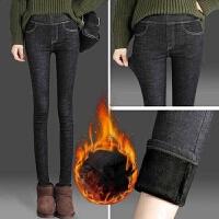 秋冬季高腰黑色女士紧身加绒修身弹力休闲小脚牛仔裤女长裤子女