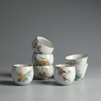 功夫茶杯家用陶瓷品茗杯汝瓷单杯子主人杯个人茶杯