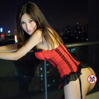 性感蕾丝情趣内衣欧美条纹甜美丝带塑身情趣鱼骨马甲配吊袜带套装 红色
