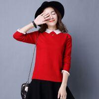 加绒加厚冬装女娃娃领韩版学生长袖打底衫套头针织衫毛衣女装