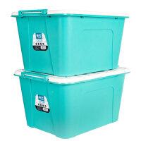 茶花(CHAHUA)茶花收纳箱 茶花塑料收纳箱有盖衣服宝宝家用装书箱子收纳盒大号带轮子整理箱 2个装