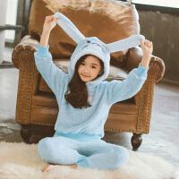 女童睡衣法兰绒儿童厚款秋冬季小孩中大童宝宝家居服珊瑚绒套装