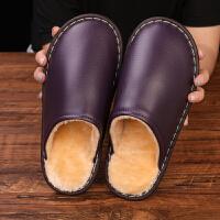 冬季居家棉拖鞋男女情侣室内房间防水牛筋底木地板保暖皮拖鞋冬天
