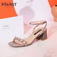 St&Sat/星期六春夏新款一字带方头粗跟露趾凉鞋女SS92115323