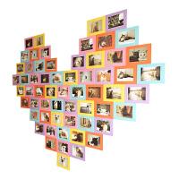 爱心照片墙贴 公司员工墙班级宿舍装饰6寸粘贴纸相框 60框