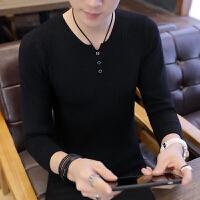 冬季新款毛衣男学生潮流修身v领薄款线衣青年纯色长袖针织打底衫 # 806黑色