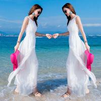 真丝连衣裙夏女2018新款海边沙滩裙子温柔白色及脚踝长款长裙超仙 白色