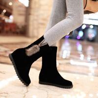 彼艾2017秋冬新款中筒流苏靴内增高靴子平底坡跟磨砂皮侧拉链短靴女