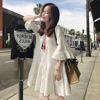 普吉岛沙滩裙女夏季民族风刺绣超仙连衣裙泰国三亚海边度假娃娃裙 白色