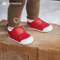 迷你巴拉巴拉儿童学步鞋2020秋冬新款男童女童鞋卡通印花穿脱方便拜年服