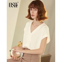 【3件6.5折】OSA欧莎雪纺衫女2019夏款设计感女小众轻熟白色短袖很仙的上衣