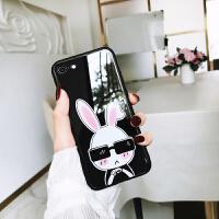 iphone7plus手机壳玻璃女款卡通可爱萌苹果8/7/6s/x镜面后壳兔子