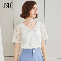 【2件3折价:97.3】OSA欧莎白色蕾丝雪纺衫2019新款夏时尚宽松短袖洋气小衫气质女