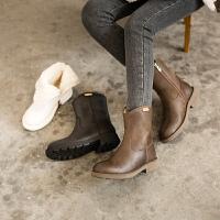 ��菲���D2020秋冬新款女靴皮毛一�w短筒雪地靴女真皮�R丁靴冬加�q加厚短靴57511-111YML
