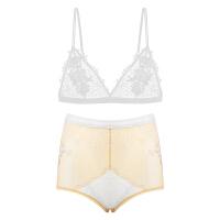 性感透明蕾丝胸罩三点式情趣内衣服激情用品套装 白色【文胸+内裤】 155/85(S)