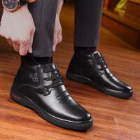 宜驰 EGCHI 皮靴子男士保暖加绒雪地靴商务休闲棉靴子系带舒适耐磨高帮棉鞋子 K914302