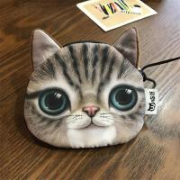 猫咪零钱包女迷你可爱韩国创意学生布艺硬币包小巧手拿零钱袋拉链 可爱多