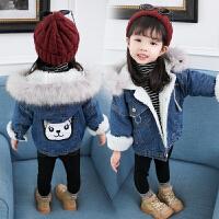 女宝宝冬装外套0一1-2-3岁韩版潮洋气小童4儿童加绒加厚牛仔衣服5 牛仔蓝 兔子加绒牛仔外套