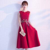 红色敬酒服2018新款显瘦优雅结婚回门服新娘晚礼服裙女夏季中长款