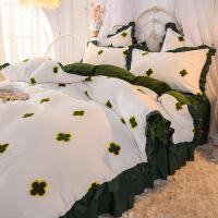 冬季珊瑚绒床上用品四件套公主风加厚双面法兰绒水晶绒被套床裙款